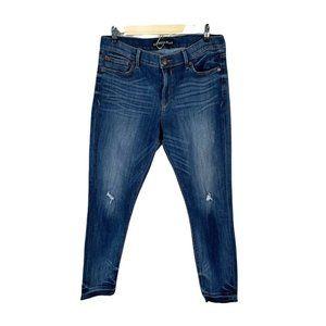 express distressed jeans released raw hem sz 12 R dark wash Stretchy High Rise